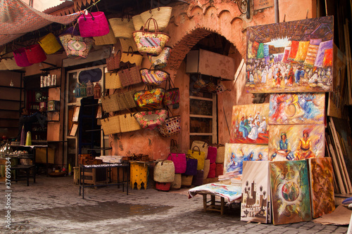 Poster Morocco Old medina art street shop, Marrakesh, Morocco