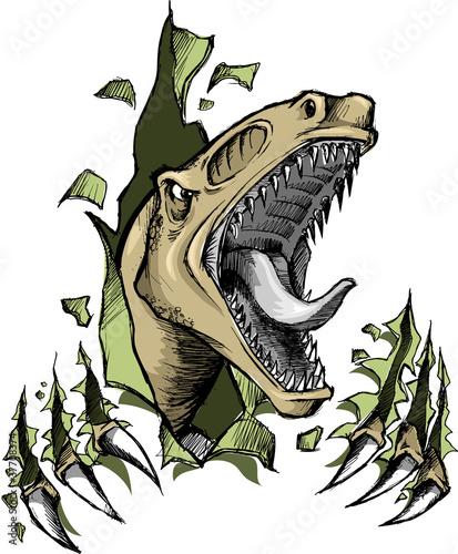 Canvas Prints Cartoon draw Sketch Doodle Raptor dinosaur Vector Illustration