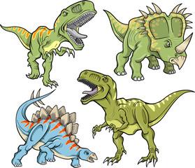 Fototapeta Dinosaur Vector Illustration Set
