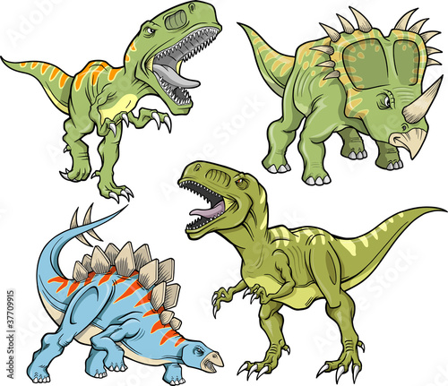 Poster Cartoon draw Dinosaur Vector Illustration Set