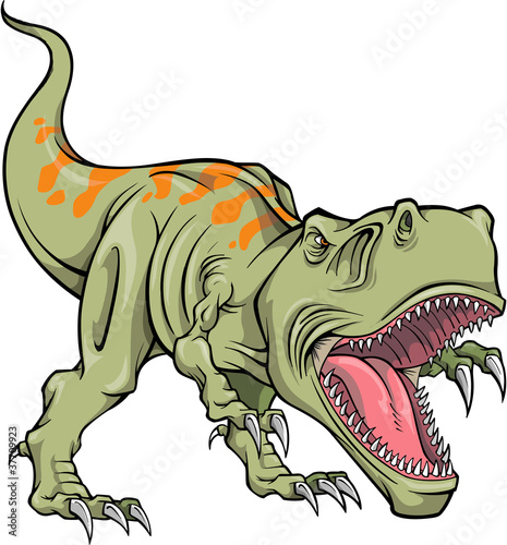 Poster Cartoon draw Tyrannosaurus Dinosaur Vector Illustration