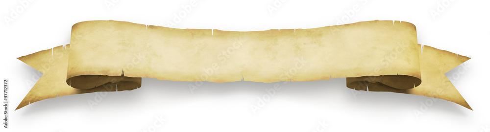 Valokuva  Banderole en parchemin sur fond blanc 1