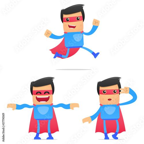 Staande foto Superheroes set of funny cartoon superhero