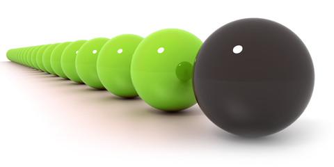 Red and black billiard ball...