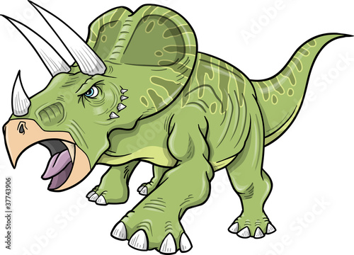 Poster Cartoon draw Triceratops Dinosaur Vector