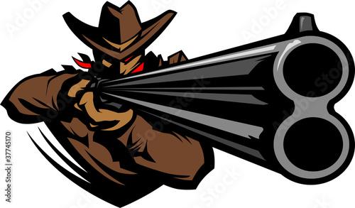 Photo  Cowboy Mascot Aiming Shotgun Vector Illustration