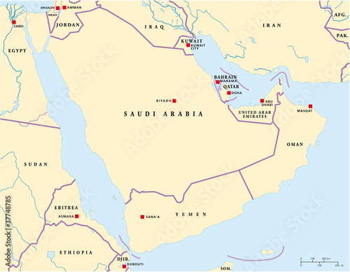 Arabian Peninsula political map with capitals and national ...