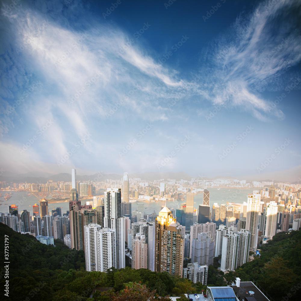 Fotografering  over view of Hongkong