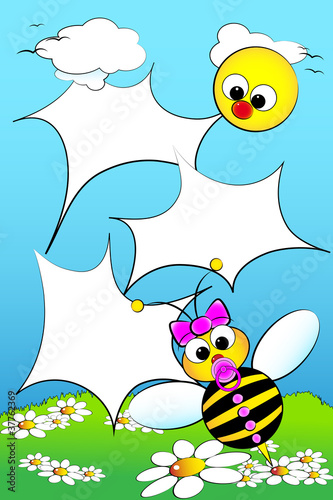 Poster Oiseaux, Abeilles Kid scrapbook with blank frames