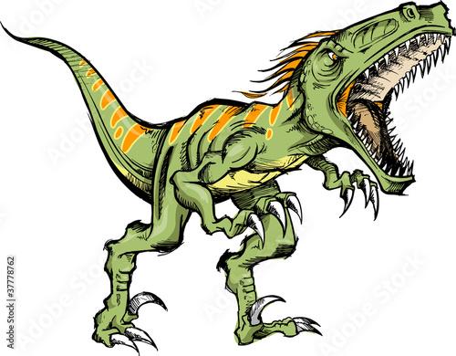 Naklejka ścienna Raptor Dinozaur Ilustracja Wektorowa