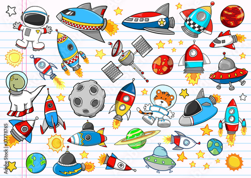 Poster Cartoon draw Outer Space Doodle Sketch Vector Illustration Set