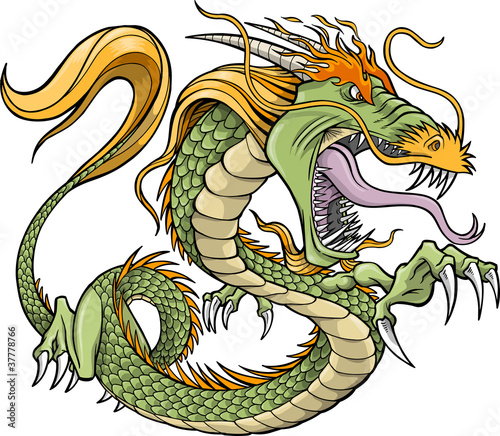 Poster Cartoon draw Green Dragon Vector Illustration