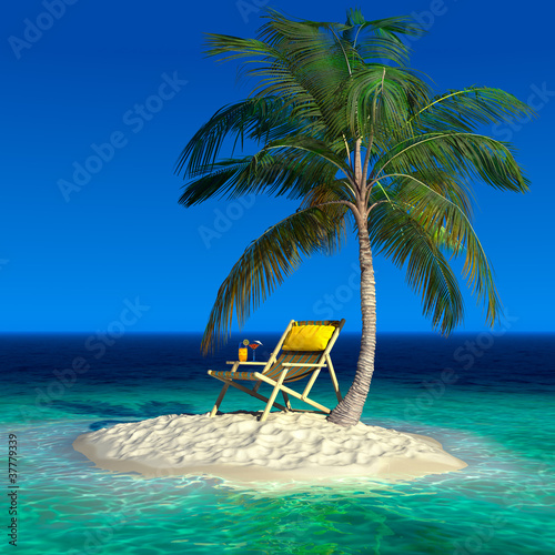 Foto-Leinwand - A small tropical island with a beach chaise longue (von Anton Balazh)