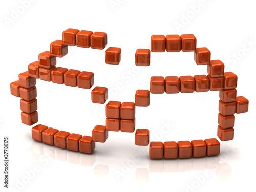 Foto op Aluminium Pixel Glasses icon made of orange cubes