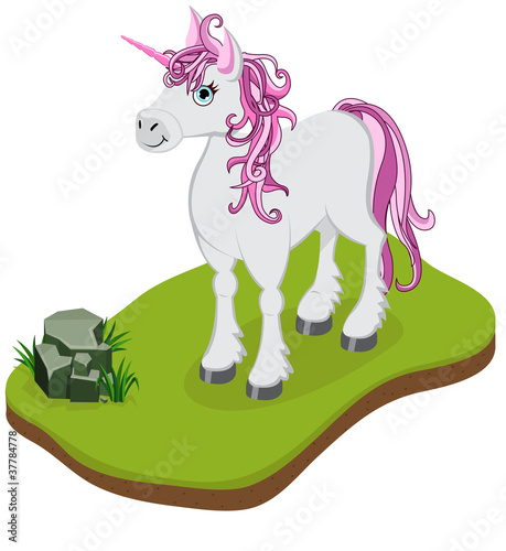 Deurstickers Pony Isometric Cartoon Unicorn