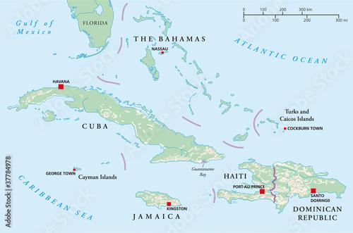 Bahamas Cuba Haiti Jamaica And Dominican Republic Political Map Ilration Vector