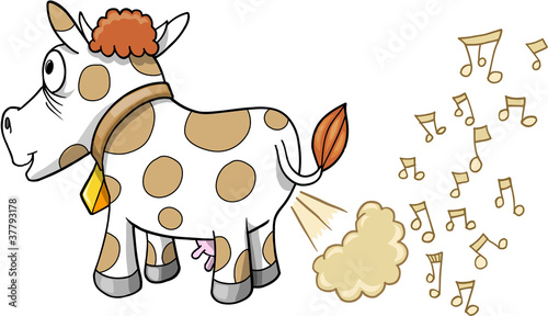 Garden Poster Cartoon draw Farting Music Cow Vector Illustration