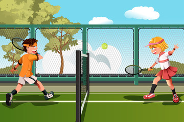 Panel Szklany Tenis Kids playing tennis
