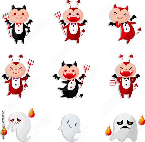 Printed kitchen splashbacks Illustrations cartoon devil icon