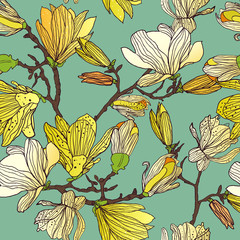 Panel Szklany Kwiaty Seamless floral texture