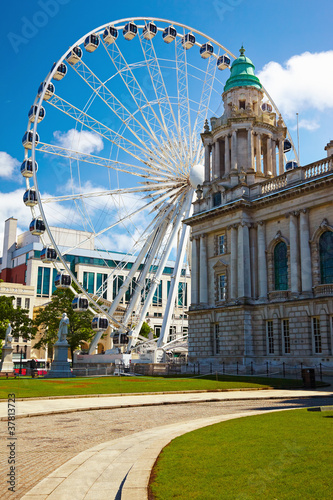 Belfast City Hall and Ferris wheel Poster Mural XXL