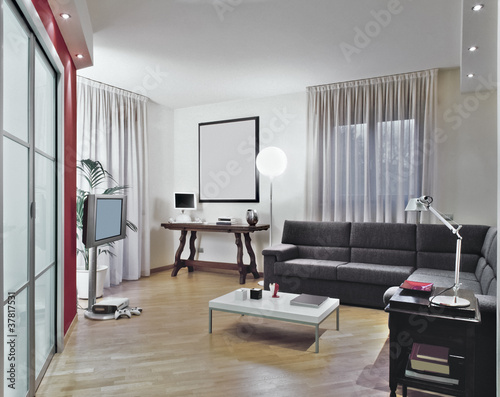soggiorno moderno con divano grigio e parquet - Buy this ...