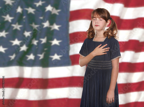Little Girl Pledging Allegiance to the Flag Wallpaper Mural
