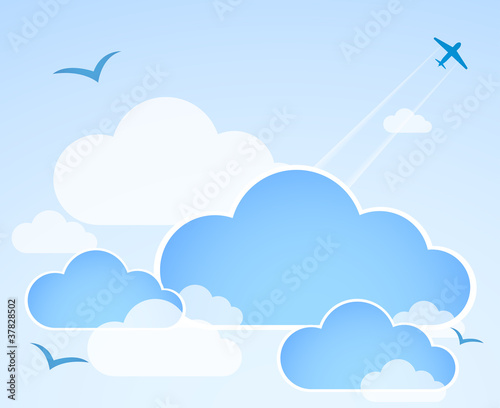 Poster Ciel Blue sky with clouds. Illustration