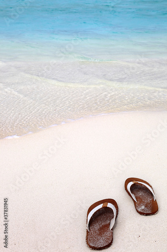 Flip Flops on the Beach Wallpaper Mural