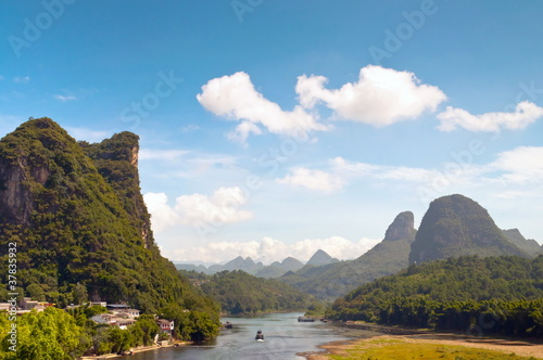 Foto op Canvas Guilin Li river in Yangshou near Guilin landscape
