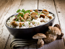 Risotto With Cep Edible Mushrooms