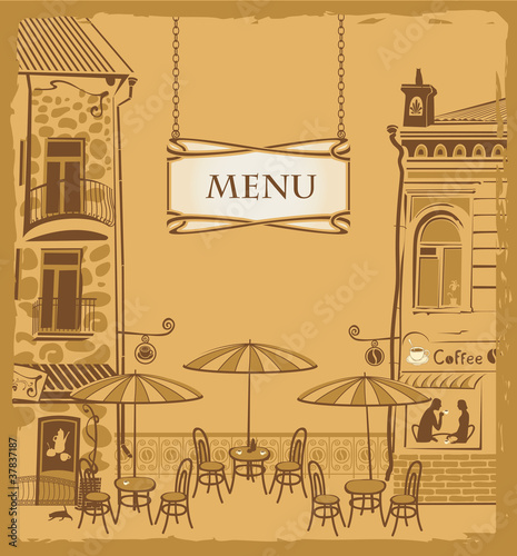 Keuken foto achterwand Drawn Street cafe Cover with the urban cafe menu