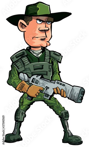 Fotobehang Militair Cartoon soldier with a automatic rifle
