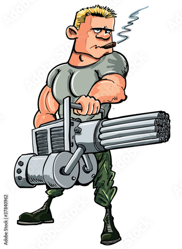 Poster Militaire Cartoon soldier with a mini gun