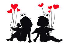 Love Couple - Lovely Cute Children Kissing Silhouette
