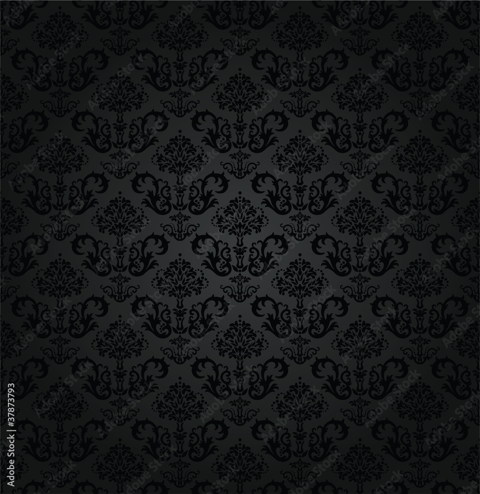 Seamless charcoal small floral elements wallpaper
