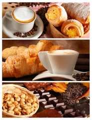 Panel Szklany Do kawiarni Sapori italiani, cappuccino e cioccolata con nocciole