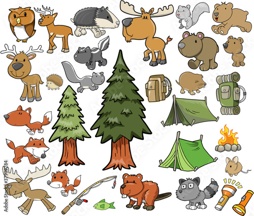 Poster Cartoon draw Outdoors Wildlife Camping Vector Design Set