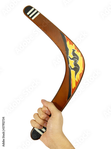 Photo  Hand with kangaroo painted boomerang