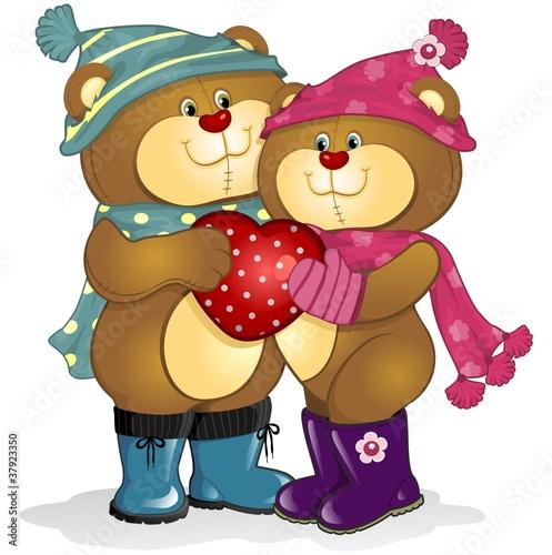 Wall Murals Bears Bears in love with heart
