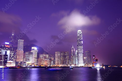 Foto op Plexiglas Violet Hong Kong skyline at night