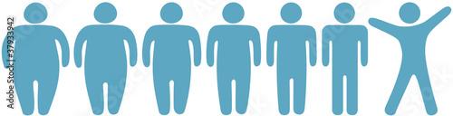 Obraz Fat to thin weight loss fitness people - fototapety do salonu
