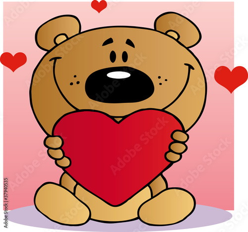 Happy Teddy Bear Holding A Red Heart #37940535