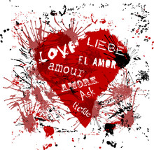 """Heart With The Word """"love"""" In Various Languages, Grungy Style"""