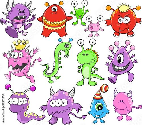 Photo Stands Cartoon draw Cute Monster Alien Vector Elements Set