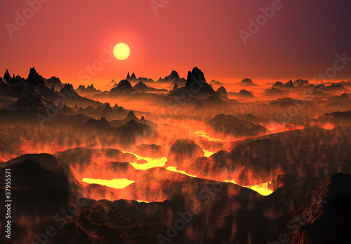 Foto op Canvas Koraal Volcanic fantasy landscape with lava fields