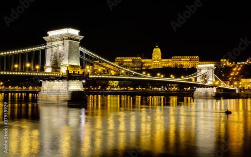 Chain Bridge and Buda Castle at night, Budapest, Hungary