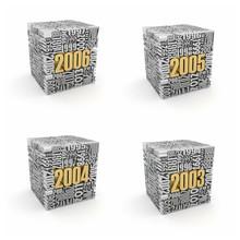 New Year 2006, 2005, 2004, 2003.