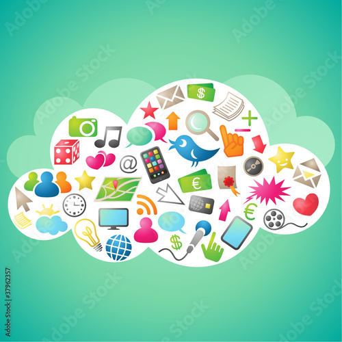 Cloud computing, colorful icons, green background #37962357