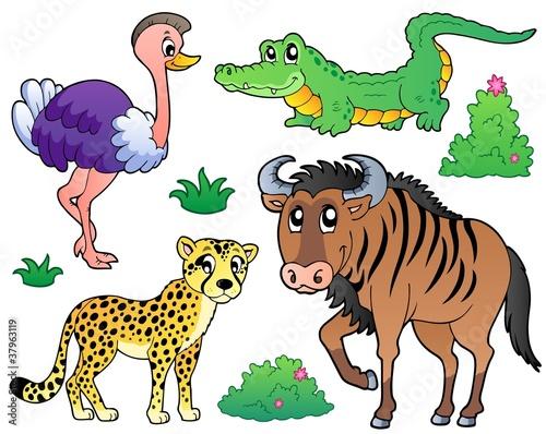 Poster de jardin Zoo Savannah animals collection 2